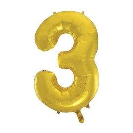 "Foil Balloon - #3 Gold - 34"""