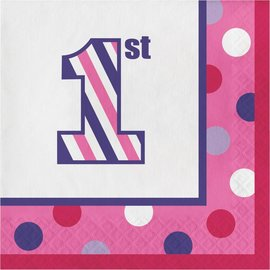 Napkins LN - 1st Birthday Sweet Stripes Girl