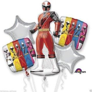 Foil Balloons 5 pk - Power Rangers