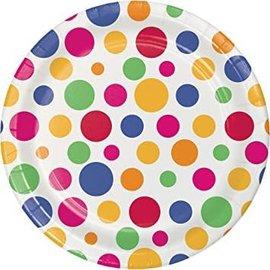 """Beverage Paper Plates- Party Dots- 8pk/7"""""""