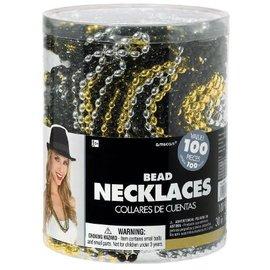 Bead Necklaces - Gold, Silver, Black (100 pk)