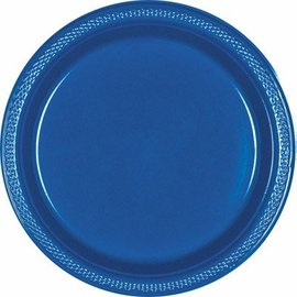 Plastic Plates 20pc Bright Royal Blue 9""