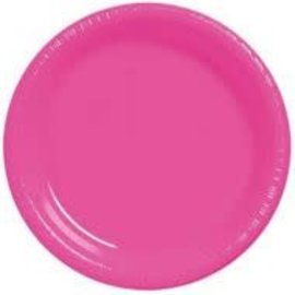 Plastic Plates 20pc Bright Pink 9""