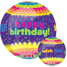 Foil Balloon - Happy Birthday Orbz