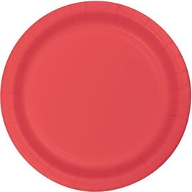 """Paper Plates 24pc Coral (Discontinued) 6 7/8"""""""
