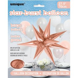 Star-Burst Foil Balloons (Air Fill Only) Rose Gold Large