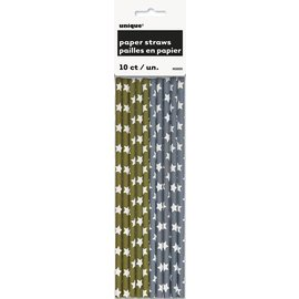 Paper Straws - Gold and Silver Stars