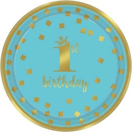 Plates BEV - Gold 1st Bday Boy