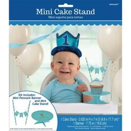 Mini Cake Stand - 1st Birthday Blue