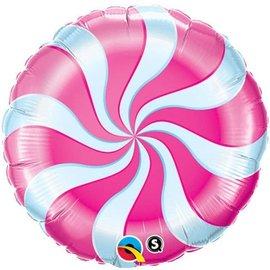 "Foil Balloon - 18"" - Pink Candy Swirl"