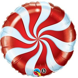 "Foil Balloon - 18"" - Red Candy Swirl"