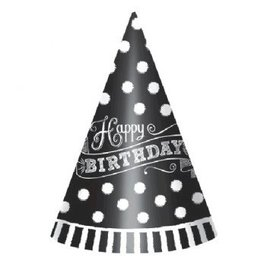 Black & White Paper Cone Party Hats