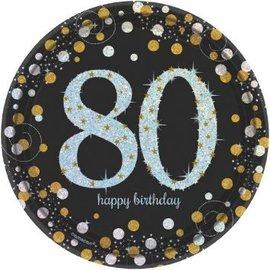 Plates Bev - Sparkling Birthday 80th