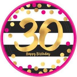 Plates Bev - Pink and Gold Milestone 30 Round Metallic