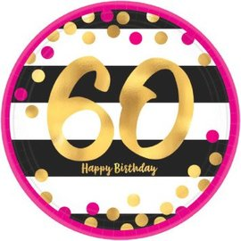 Plates Bev - Pink and Gold Milestone 60 Round Metallic