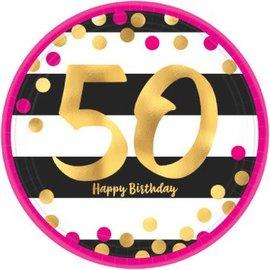 Plates Bev - Pink and Gold Milestone 50 Round Metallic