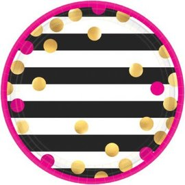 Plates Bev - Pink And Gold Confetti Metallic