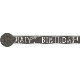 Paper Crepe Streamers- 81' Happy Birthday Chalk