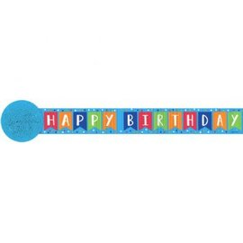 Paper Crepe Streamers- Happy Birthday Blue