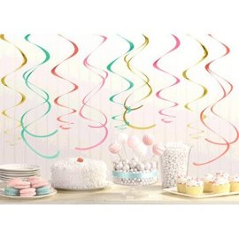 Decorations Swirl Pastel- 12pcs- 22""