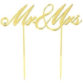 Cake Topper Mr. & Mrs. Gold