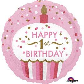 Foil Balloon - 1st Birthday Girl