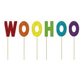 Cake Picks Glitter - WOO HOO