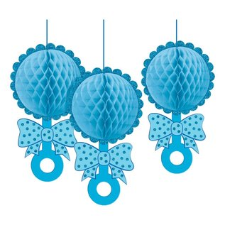 Hanging Decoration- Honeycomb Rattles- Glitter- Baby Boy- 3pcs