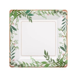 """Plates- LN- Square- Love and Leaves- 8pk/7"""""""