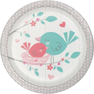 "Beverage Paper Plates- Hello Baby Girl- 8pk-7"""