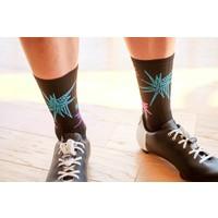The Meteor Socks Black w/Multi-Color Stars Large/X-Large