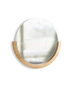 Umbra Miroir rond Mira avec rebord en érable naturel