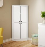 South Shore Armoire en coin 4 portes, Blanc solide, collection Morgan