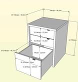 Nexera Cabinet filière 3 tiroirs, Blanc et Noyer, collection Liber-T