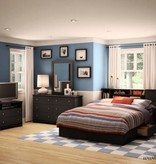 South Shore Bureau double 6 tiroirs, Noir solide, collection Vito