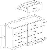 South Shore Bureau double 6 tiroirs, Chêne gris, collection Step One