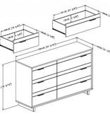 South Shore Bureau double 6 tiroirs, Chêne gris, collection Fynn