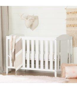 South Shore Lit de bébé avec barrière de transition, Blanc solide, collection Angel