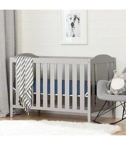 South Shore Lit de bébé avec barrière de transition, Gris clair, collection Angel