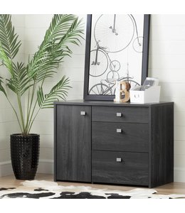 South Shore Interface Storage Unit with File Drawer, Gray Oak
