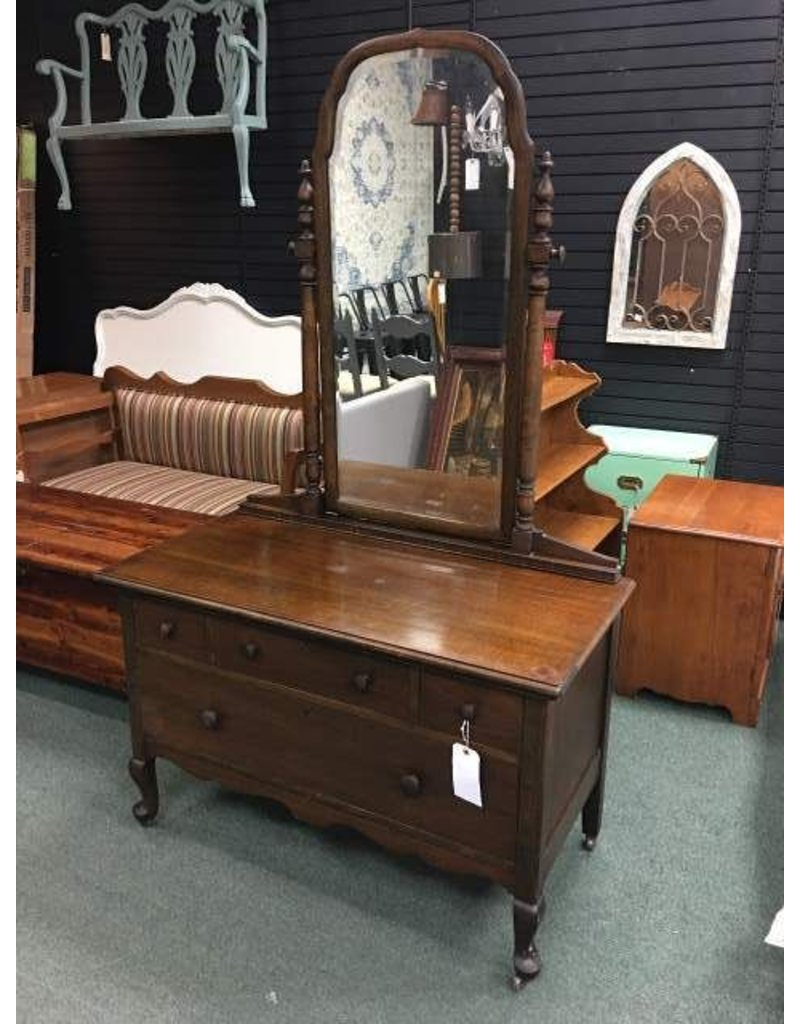 Four-Drawer Low-Boy Dresser w/Mirror & Wheels