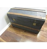 Brown & Silver Dome Top Trunk w/Wood Banding