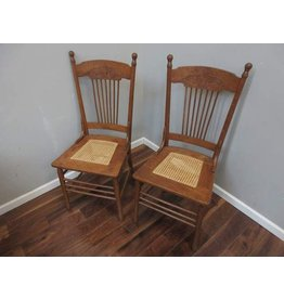 Pair of Oak Press-back Chairs