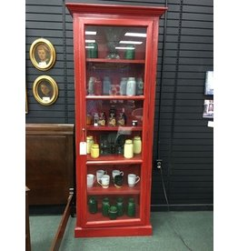Tall Red Curio Cabinet