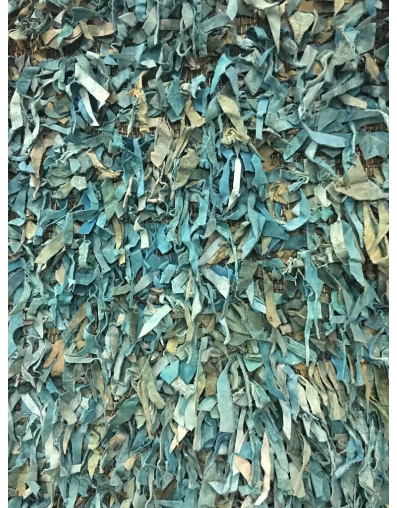 """Safavieh Leather Shag Teal Area Rug 2'3""""x11'1"""""""