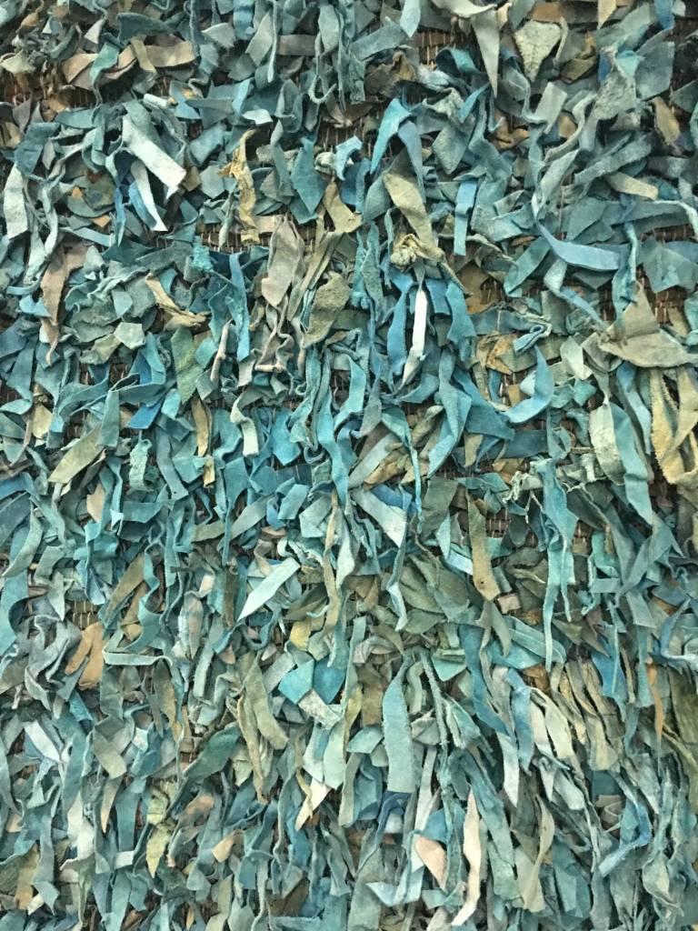 """Leather Shag Teal Area Rug 2'3""""x11'1"""""""