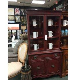 Deep Red China Cabinet W/ Black Glaze 36x14x71.5