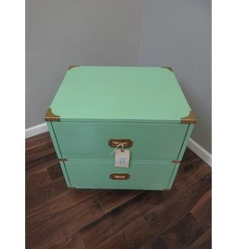 Campaign Style Nightstand in Teal with Gold Accents