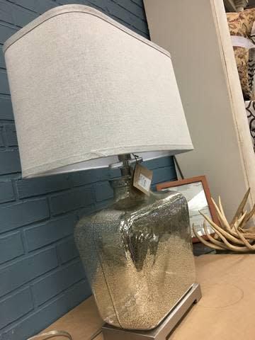 "Comte 28"" Glass Table Lamp w/ Rectangular Shade"