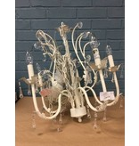 Ivory Chandelier w/ Leaves, Iron and Acrylic